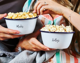 Set Of Two Personalised Couples Popcorn Bowls