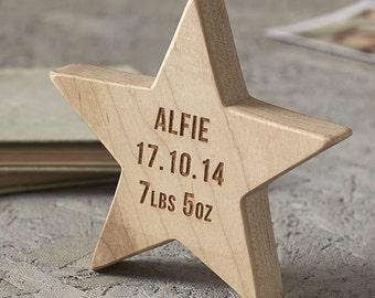 Personalised Baby Keepsake Wooden Star