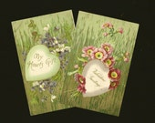 Pair of Embossed Antique Valentine's Day Postcards Floral Hearts and Faux Bois Background 1908
