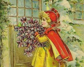 Charming Antique Embossed New Year's Postcard Girl at Door With Bouquet of Violets