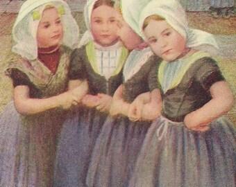 8ddcdbeb19fa Piccolo Gossips quattro piccole ragazze olandesi Antique art cartolina 1908