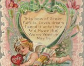 Cupid and Bow of Green Romantic Embossed Antique Valentine's Day Postcard Red Carnations and Romance 1909