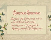 Vintage Christmas Postcard Winter Landscape and Thoughtful Holiday Verse