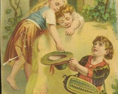 The Little Musician Antique Victorian Litho 1889 - Suitable for Framing