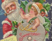 Embossed Antique Christmas Postcard Sweetheart Days Santa and Cupid Unused Antique Postcard