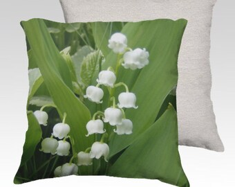 White Spring Lily of the Valley Velveteen Decorative Pillow Cover 18x18 Romantic Spring Summer Home Décor Unique Home Decor READY TO SHIP