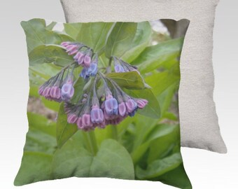 Pink and Blue Virginia Bluebells ~ Velveteen Decorator Pillow Cover 18x18 Romantic Spring Summer Home Décor Made in Canada READY TO SHIP