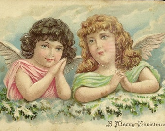 Pair of Angels Unused Embossed Antique Christmas Postcard Early 1910s – Sold AS IS