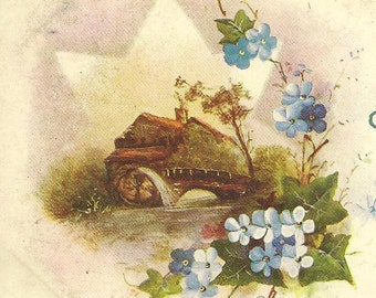 Vintage Birthday Postcard Wildt & Kray Blue Forget-me-Nots and Mill With Water Wheel – Charming Heartfelt Verse