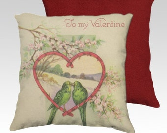 Valentine Pillow Cover 18x18 Velveteen Pillow Cover Two Love Birds in Heart Vintage Inspired Home Décor Accent To My Valentine READY TO SHIP