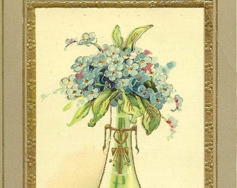 Elegant Vase of Forget-me-Nots Vintage Postcard Do You Remember? Antique Floral Postcard - Spring Flowers