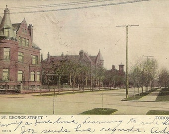 St George Street TORONTO 1908 Antique Postcard Stately Homes and Buildings Stamp Canada #97 Very Early Use on Postcard