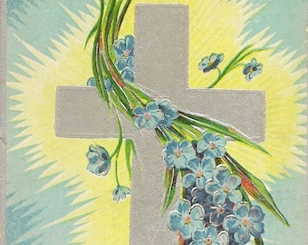 Silver Cross and Pale Blue Forget-me-Nots – Vintage Easter Postcard Julius Bien 1908