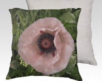 Pink Poppy Velveteen Decorative Pillow Cover 18x18 Romantic Spring Home Décor ~ August Flower Unique Home Decor Photo Pillow READY TO SHIP