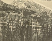 Banff Springs Hotel and Rundle Mountain Unused Antique Postcard CPR Hotel and Rundell Mountain