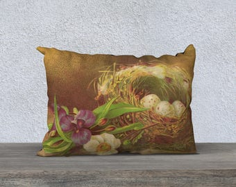 Bird's Nest of Eggs and Spring Flowers on 20x14 Lumbar Pillow Cover One of a Kind Home Décor  - Ready to Ship
