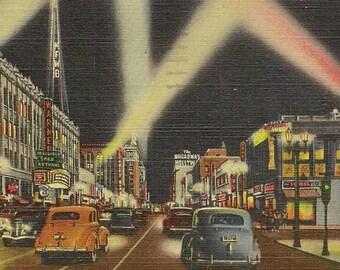 Hollywood Boulevard at Night Vintage Linen Postcard 1949 Shops Theatre Search Lights Vintage Cars Slogan Cancel