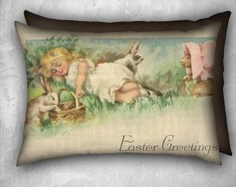 Easter Pillow Cover Sleeping Girl Playful Bunny Rabbits Velveteen Decorative Pillow Cover 20x14 Lumbar Pillow Vintage Inspired READY TO SHIP