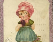 Girl with Colored Easter Eggs and Little Chick Vintage Easter Postcard 1929