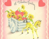 1944 Vintage Valentine's Day Card Wagonload of Flowers With Heart and Toy Horse