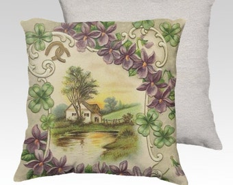 Country Cottage Purple Violets Four Leaf Clover and Gold Horseshoes ~ Velveteen Decorative Pillow Cover 18x18 Vintage Inspired READY TO SHIP