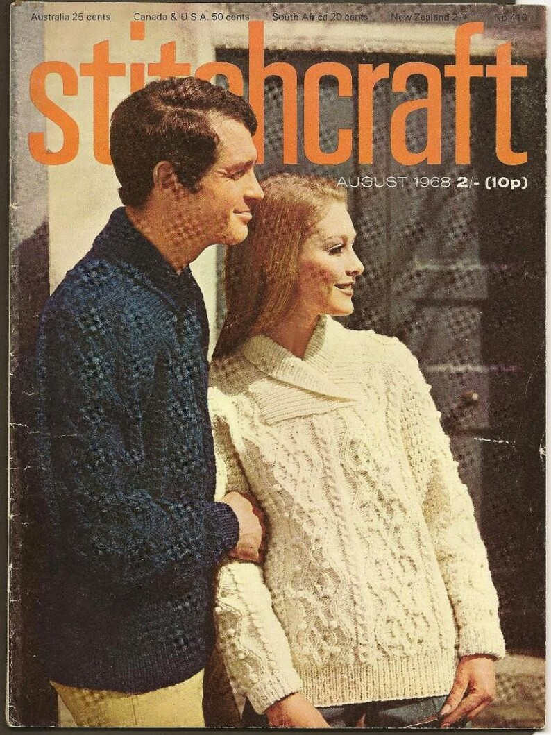 STITCHCRAFT Magazine August 1968 Fashions for late Holidays and early Autumn great vintage designs