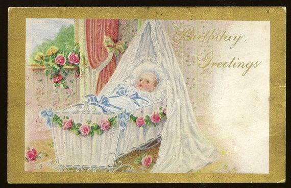 Baby in verziert stubenwagen antik geburtstag postkarte etsy