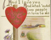 Fun Play on Words Antique Valentine's Day Postcard This Road to Happy Town – Vintage Auto on Road to Love Accents of Asters