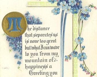 Distance That Separates Us Verse Antique Postcard Forget-Me-Not Cascades 1915