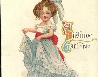 Young Lady in Fancy Gown Antique Birthday Postcard Cheery Birthday Greeting 1923