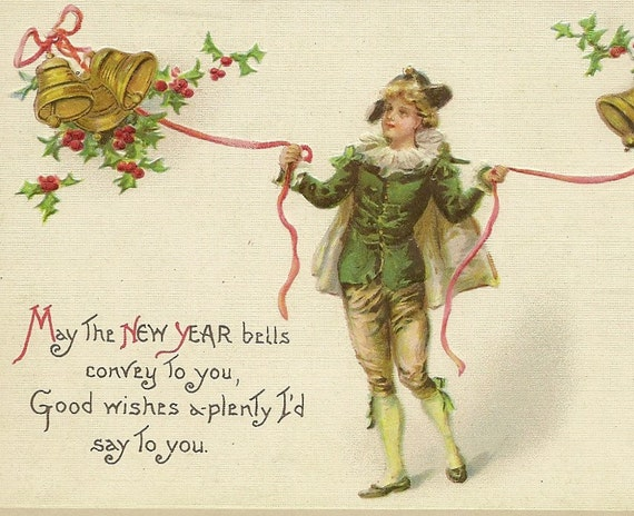 New Year Wishes Vintage Postcard Elegantly Dressed Young Man | Etsy