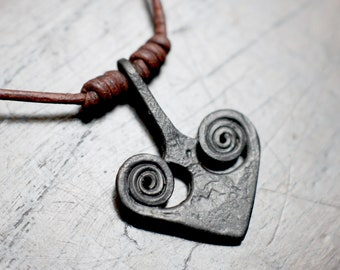 Forged Iron Heart Pendant. Intricately hand forged pure iron Heart pendant. Valentines or 6th Iron anniversary gift. With Gift box.