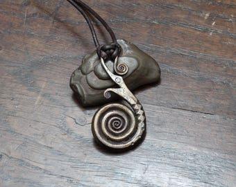 Blacksmith Forged Viking Dragon Pendant,  hand made iron dragon spiral necklace