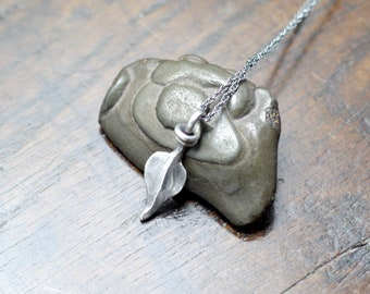 Small Hand forged Sterling Silver Leaf Pendant on a silver rope chain, Hallmarked solid silver, hot forged using blacksmithing methods.