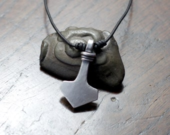 Small Solid Sterling Silver Thor's Hammer Pendant, Hand forged Mjolnir Pendant