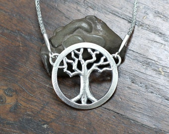 Silver Tree Necklace. Sand cast Sterling silver pendant, with hand woven Viking knit chain, hot forged ends and hand made barrel clasp.