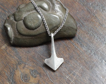 Small Minimalist Silver Thor's Hammer, Mjolnir. Individually hand forged hot, not cast. Sterling Silver, hallmarked. With chain and gift box