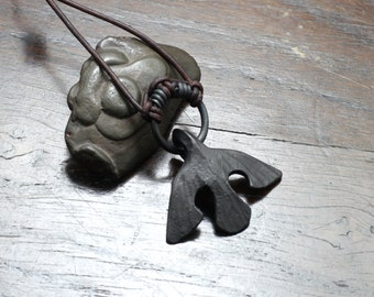 Black Iron Raven Ring Pendant. Hand forged flying raven/crow pendant on adjustable leather necklace. Pure iron, not steel. Gift box.