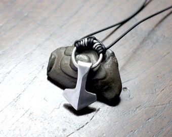 Small Solid Silver Viking Thors Hammer Necklace, Mjolnir Pendant. Hot forged of Sterling silver, using blacksmithing methods. With Gift box.