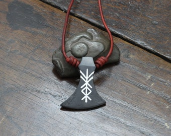 Personalised Viking Axe Head Pendant, Engraved or Silver inlaid with a rune or symbol of your choice