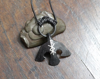 Perosnalised Rune or Bindrune Silver Inlaid Black Iron Raven/Crow Pendant. Hand forged pure iron, not steel. Inlaid with fine silver wire.