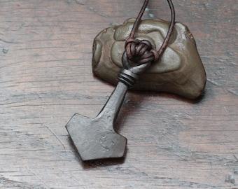Hand Forged Large Iron Mjölnir pendant