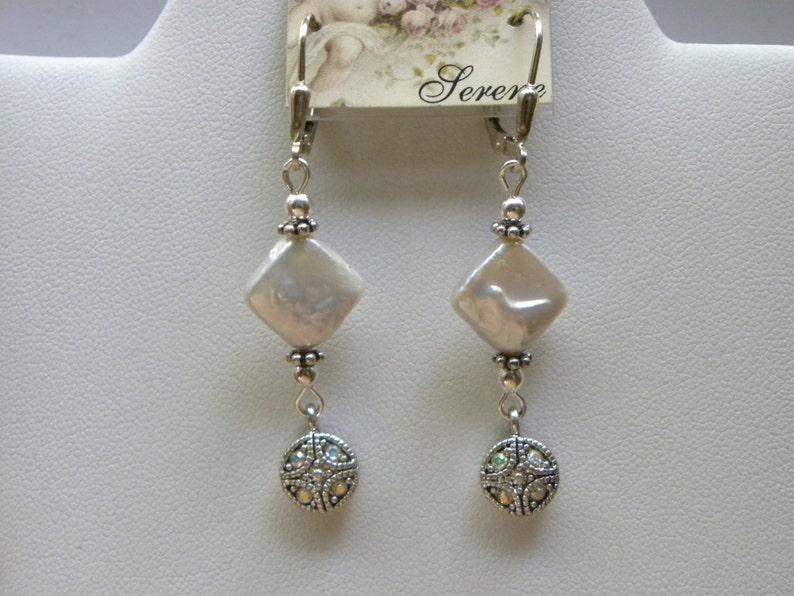 Pearl Sterling Silver Dangles Bridal Beach Wedding Earrings White Diamond Coin Pearl Earrings Coin Pearl Earrings Diamond Pearl Earrings