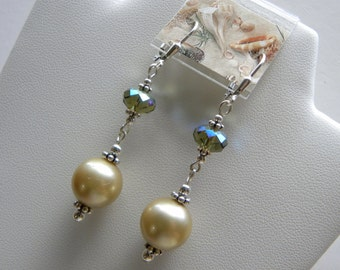 Gold Pearl Dangle Earrings, South Sea Pearl Earrings Swarovski Crystals and Sterling Silver, Long Large Pearl Earrings, Gold Pearl Dangles