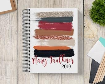 Custom Journal | Prayer Journal | Custom Planner -- Mod Glitter Brush Strokes