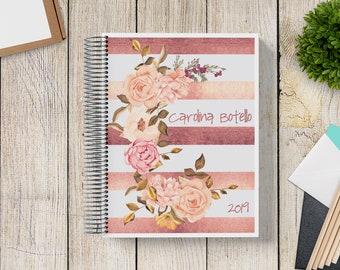 Custom Journal | Prayer Journal | Custom Planner -- Rose Gold Floral