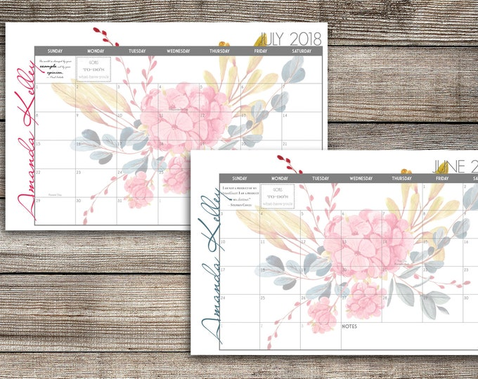 Custom Desk Calendar, Desk Pad, Blotter Calendar, Academic Calendar, Yearly Calendar -- Watercolor Flowers, Digital Copy, CHOOSE YOUR DATES