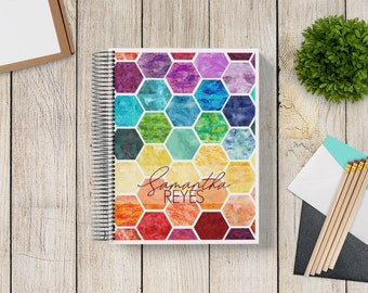 NEW DESIGN! Custom Planner 2020-2021 -- Rainbow Watercolor Hexagon
