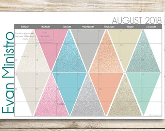 "Custom Desk Calendar, Desk Pad, Blotter Calendar, Academic Calendar, Yearly Calendar -- Glitter ""Trexagon"", PRINT YOUR OWN"