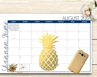2018-2019 Custom Desk Calendar, Desk Pad, Blotter Calendar - Golden Pineapple